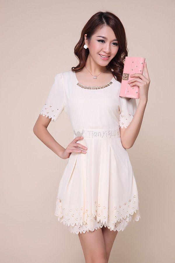 Fairy Scoop Neck Openwork Edge Solid Color Polyester Women's Dress