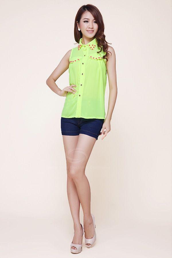 Fashion Polo Neck Stud Embellished Color Match Chiffon Women's Blouse