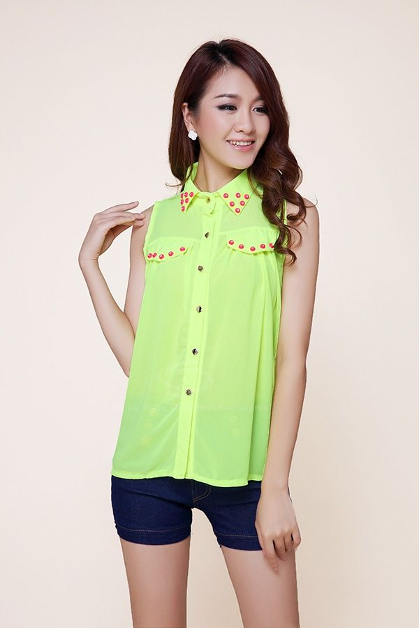 Fashion Polo Neck Stud Embellished Color Match Chiffon Women's Blouse