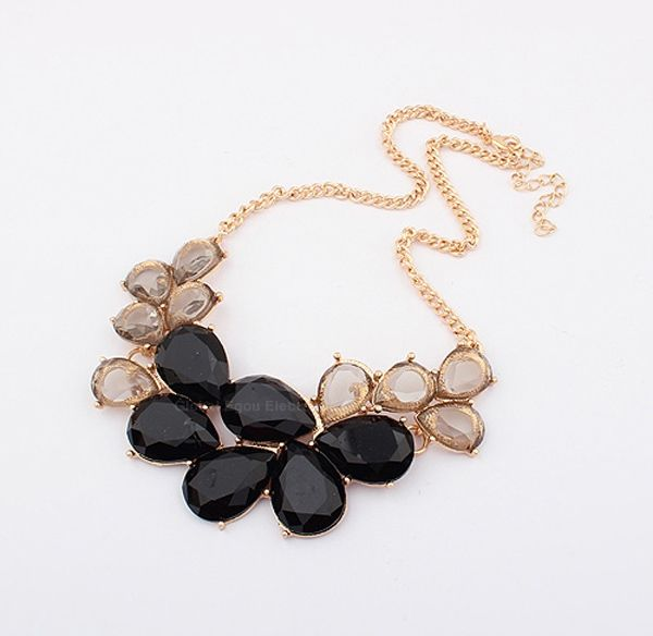 Elegant Rhinestone and Acrylic Embellished Women's Waterdrop Necklace