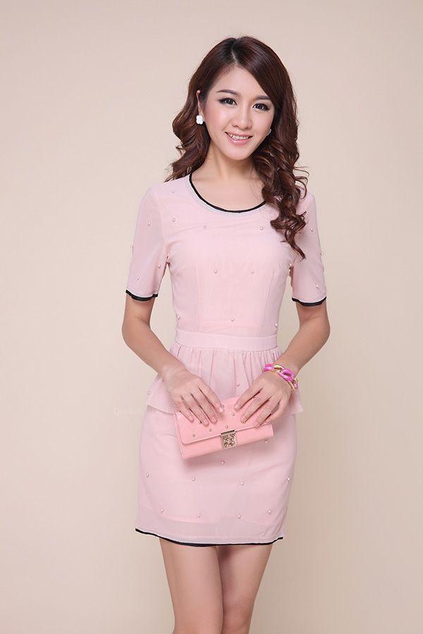 Elegant Scoop Neck Faux Twinset Flounce Edge Polyester Women's Dress