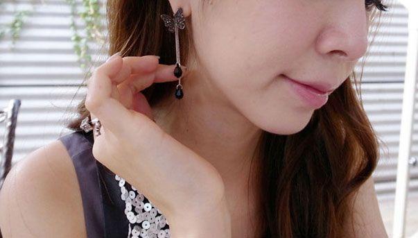 Pair of Cute Rhinestoned Tassel Waterdrop Pendant Butterfly Shaped Earrings For Women