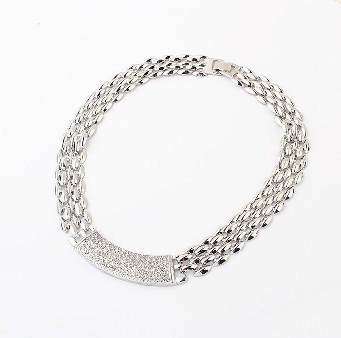 Punk Rhinestoned Alloy Choker Necklace