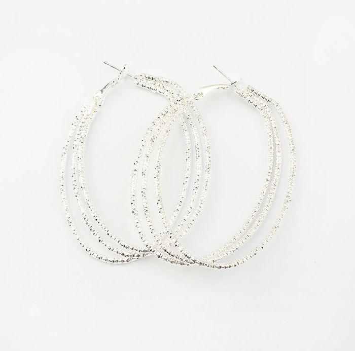 Pair of Alloy Multilayered Hoop Earrings