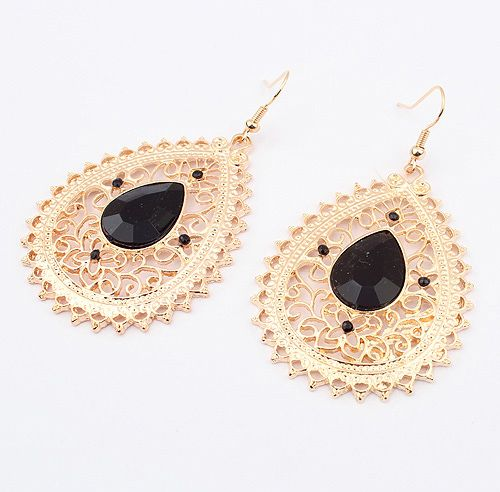 Pair of Exquisite Acrylic Gemstone Embellished Women's Openwork Fringed Earrings