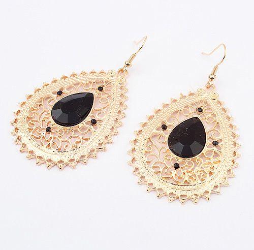 Pair of Exquisite Acrylic Gemstone Embellished Women's Openwork Fringed Earrings