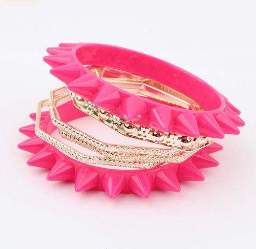Punk Multilayered Rivet Embellished Bracelet