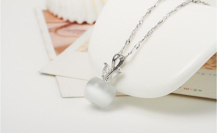 Fake Opal Apple Shaped Pendant Necklace