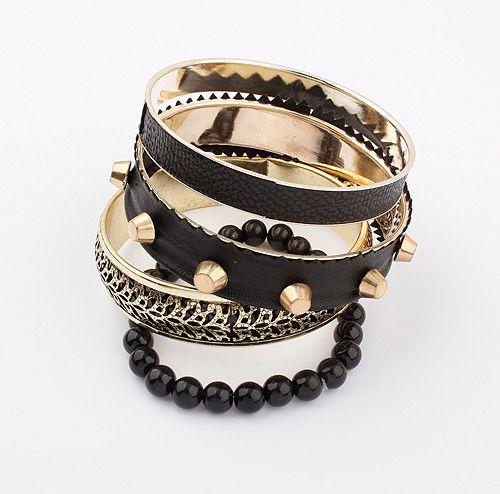 Punk Rivet Embellished Multi-Layered Alloy Faux Leather Bracelet