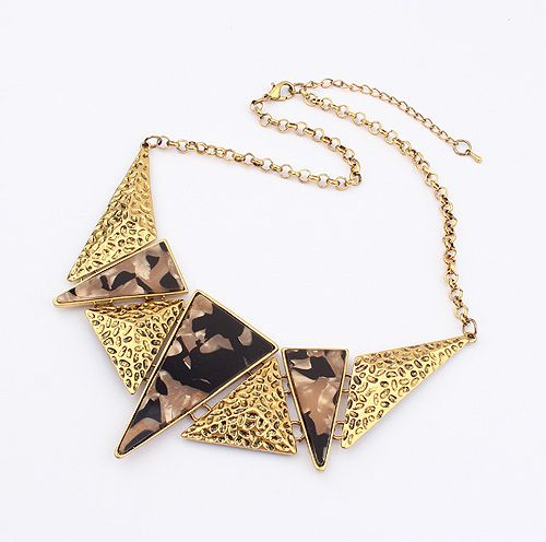 Vintage Triangle Stone Embellished Alloy Pendant Necklace