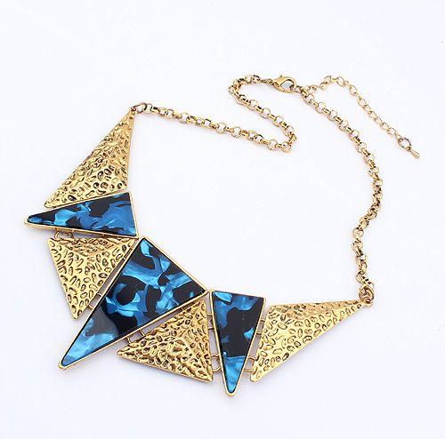 Vintage Triangle Stone Embellished Alloy Pendant Necklace
