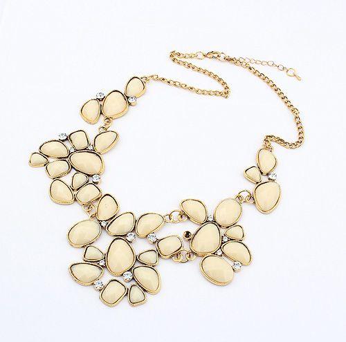 Geometric Alloy Rhinestoned Faux Gemstone Pendant Necklace