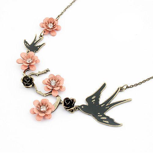 Bird and Flower Shape Pendant Necklace
