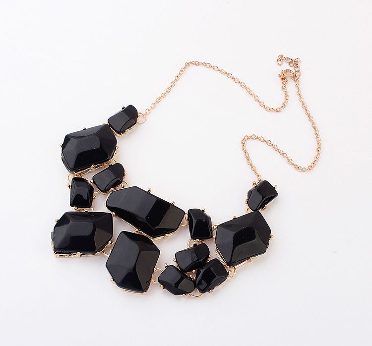 Irregular Geometric Faux Gems Necklace