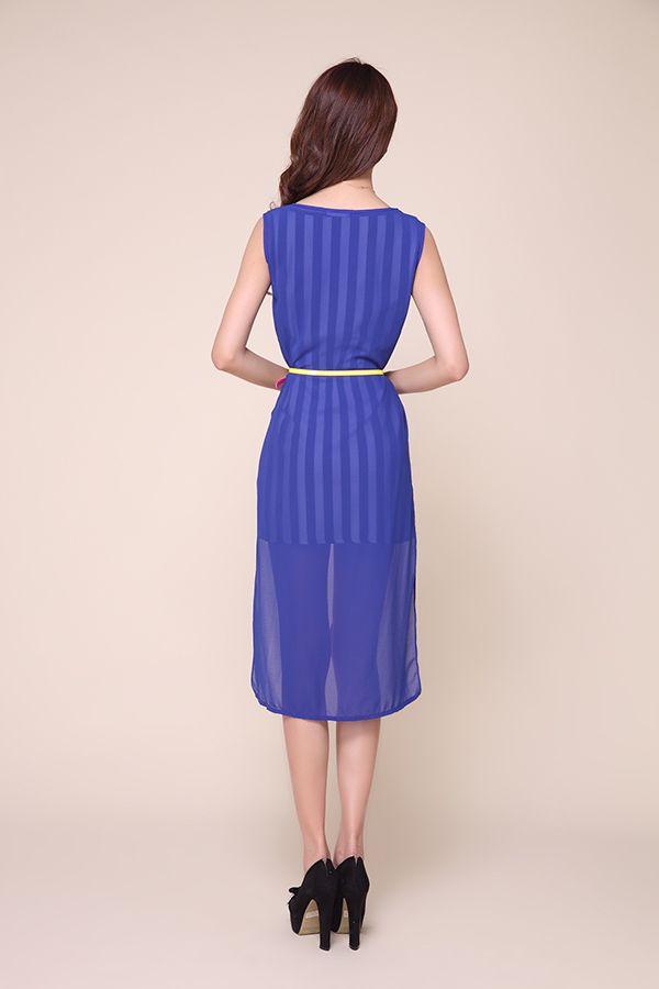 Stylish Stripes Twinset High-Low Hem Chiffon Women's Dress