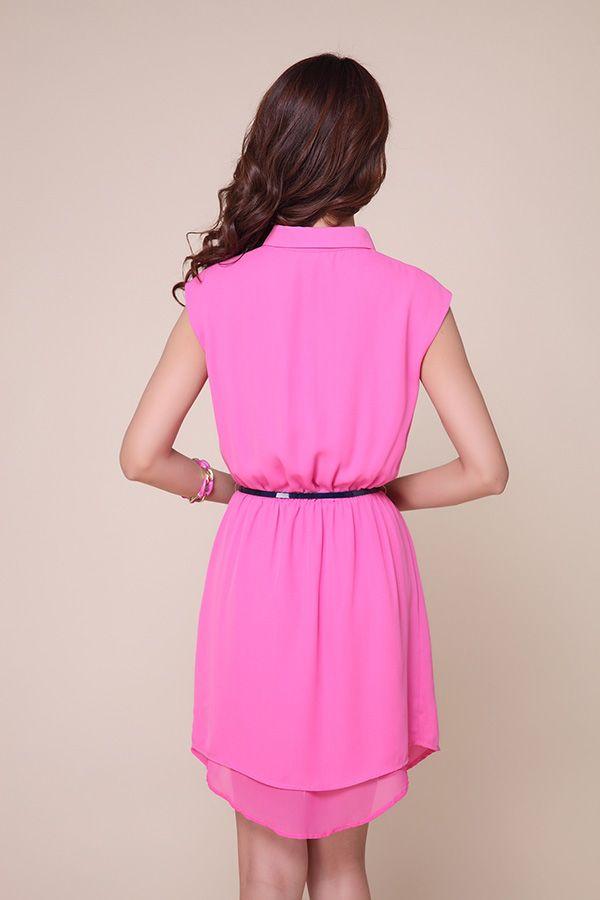 Vintage Polo Neck Sleeveless Color Block Chiffon Women's Dress
