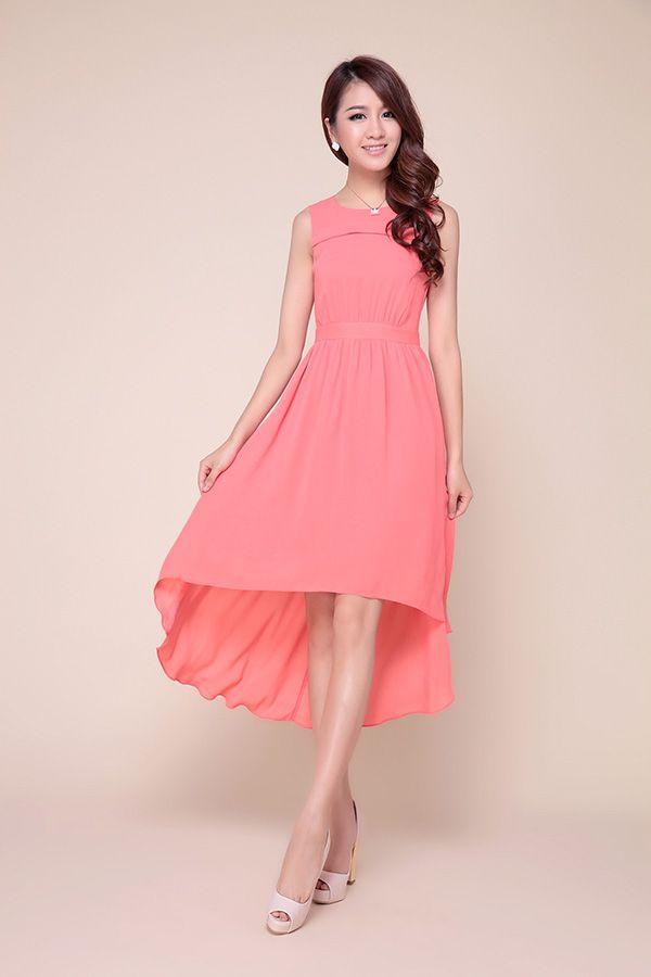 Elegant Sleeveless High-Low Hem Solid Color Chiffon Women's Dress
