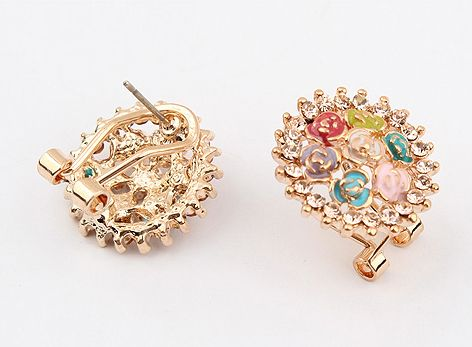 Pair of Alloy Rhinestoned Rose Embellished Earrings