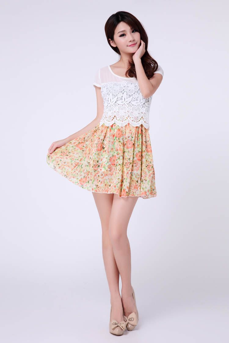 Refreshing Scoop Neck Lacework Floral Print Hem Chiffon Women's Dress