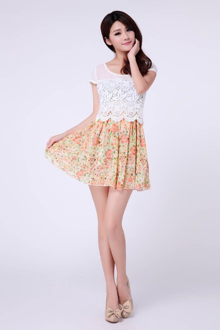 Floral A Line Lace Trim Chiffon Dress