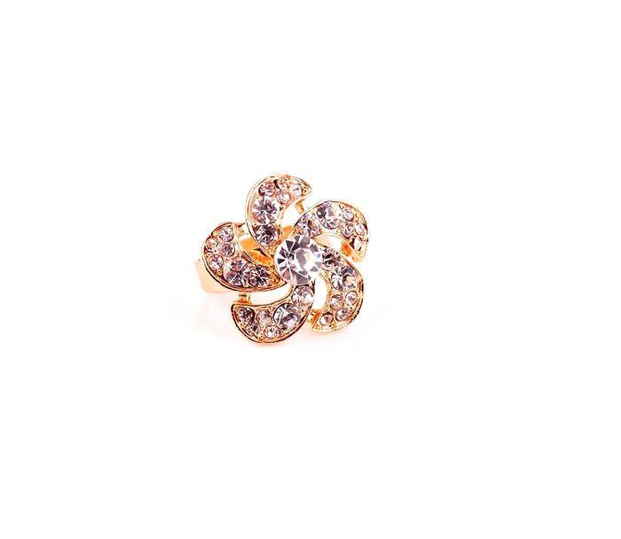 Faux Crystal Embellished Flower Alloy Finger Ring