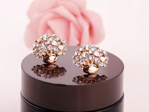 Pair of Rhinestoned Mushroom Head Smiling Girl Earrings