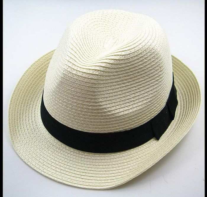 Chic Style Solid Color Embellished Men and Women's Peaked Fedora Straw Hat