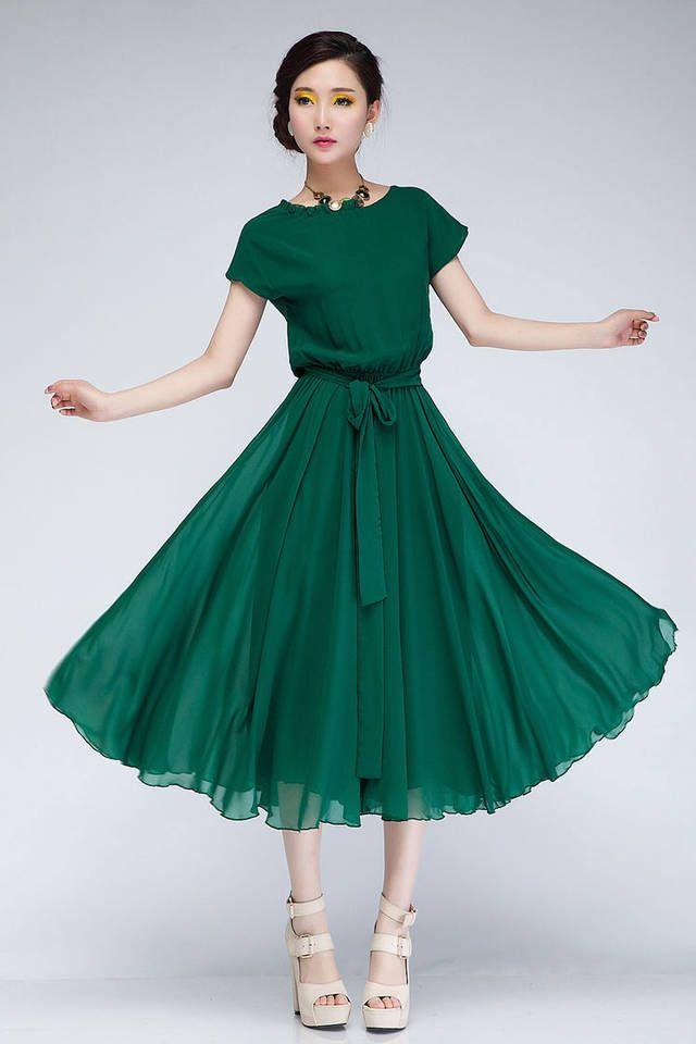 Sweet Style Scoop Neck Ruffled Stringy Selvedge Elastic Waist Short Sleeves Chiffon Women's Short Sleeves Cute Solid Color Stringy Selvedge Elastic Waist Pleated Chiffon DressDress