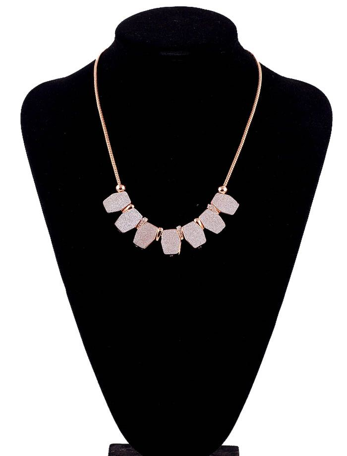 Hexagon Rhinestoned Alloy Pendant Necklace