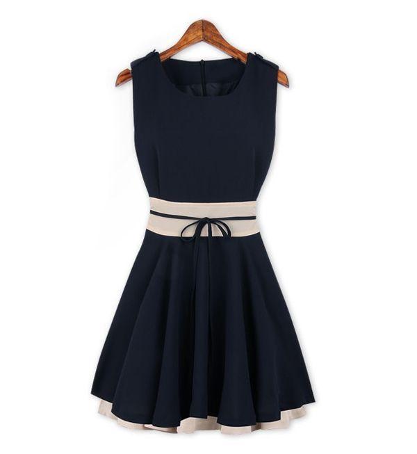 Elegant Scoop Neck Color Splicing Zipper Embellished Flouncing Hem Sleeveless Polyester Women's Dress