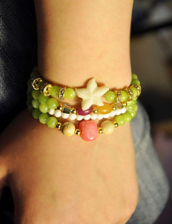 Star Embellished Bead Chain Wrap Bracelet