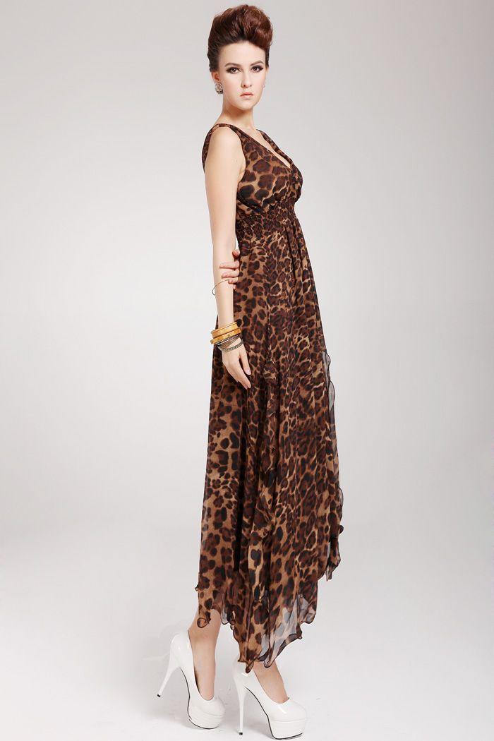 Flounce Edge Chiffon V-Neck Sleeveless Retro Style Women's Maxi-Dress