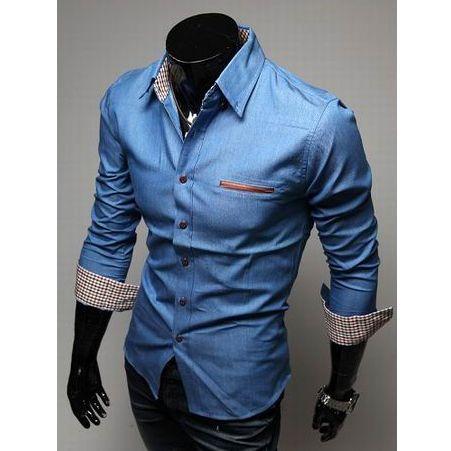 Casual Style Lapel Collar Pockets Design Bleach Wash Long Sleeves Denim Shirt For Men