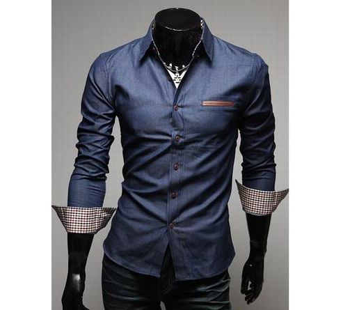 Casual Style Lapel Collar Pockets Design Bleach Wash Long Sleeves Denim Shirt For Men