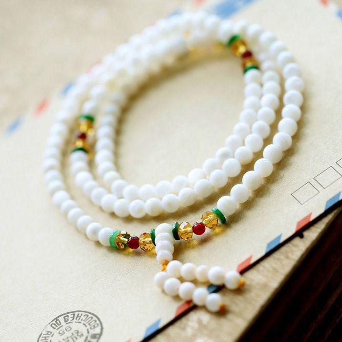 Vintage Faux Crystal Multilayered Bead Bracelet