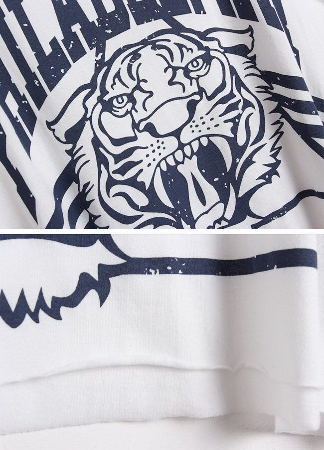 Tiger Letter Print Cotton Cropped Tank Top