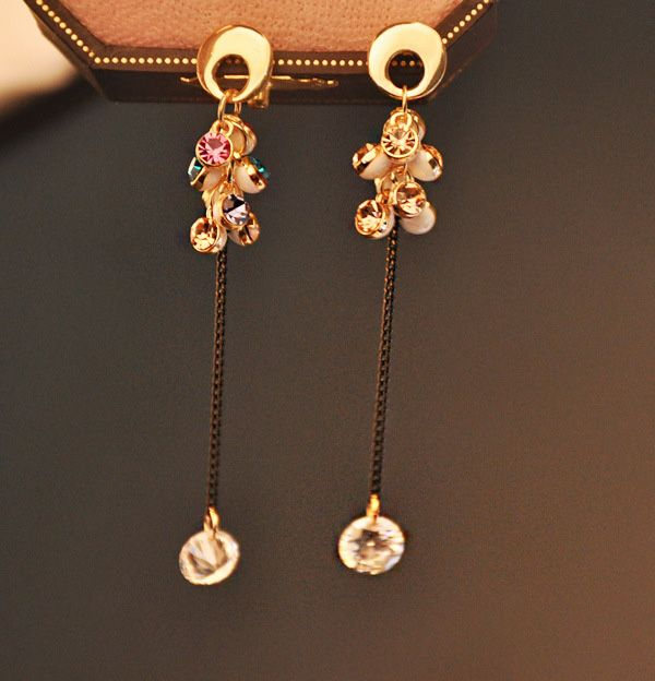 Pair of Zircon Grape Shape Drop Earrings