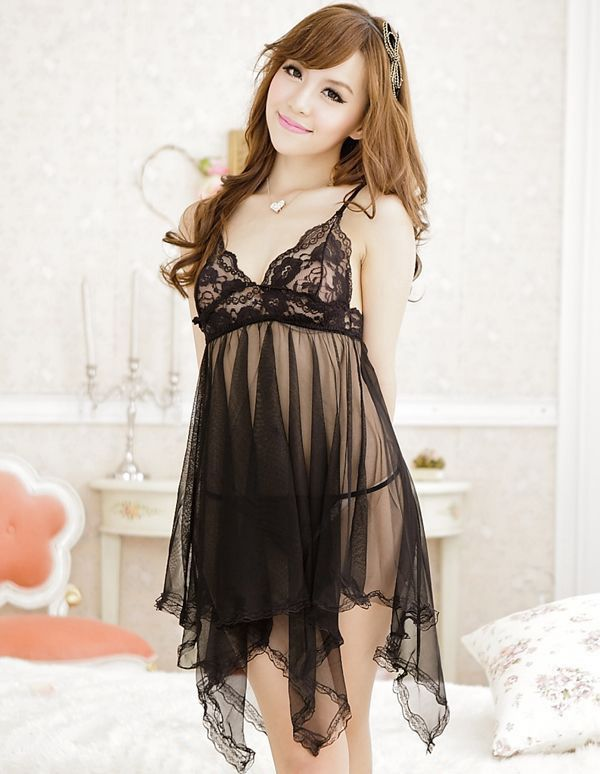 Irregular See-Through Sexy Style Lace Splicing Voile Women's Night Dress