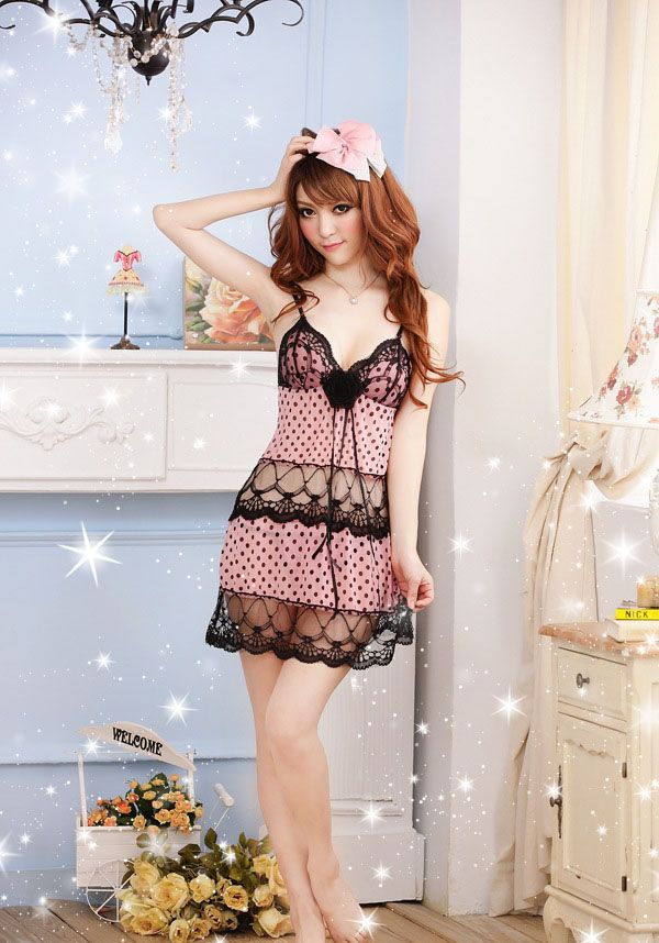 Charming Polka Dot Lace Splicing Women's Baby Dolls