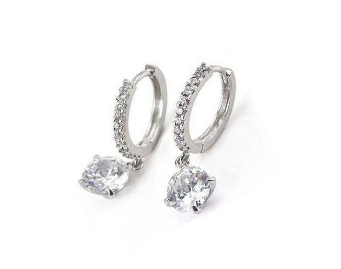 Pair of Embellished Rhinestone Decorated Round Pendant Hoop Earrings For Women