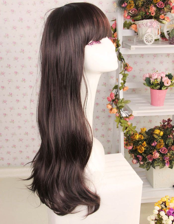 Korean Style Full Bang Long Wavy High Temperature Hair Fiber Women's Wig