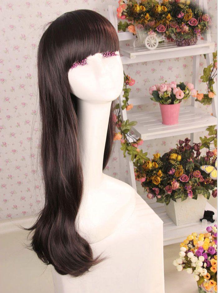 Korean Style Full Bang Long Wavy High Temperature Hair Fiber Women's Wig
