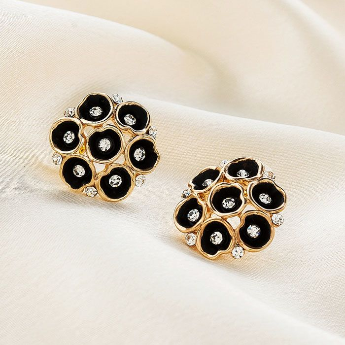 Pair of Numerous Embellished Morning Glory Decorated Stud Earrings For Women