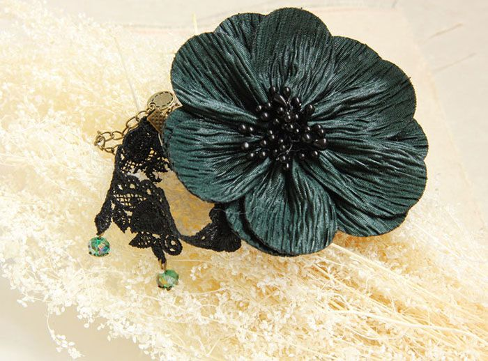 Ethnic Style Bead Embellished Big Flower Lace Anklet For Women