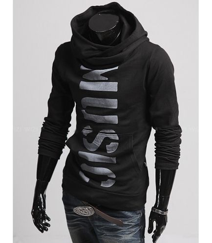 Korean Style Slimming Long Sleeves Solid Color Letters Print Men's Polyester Hoodies