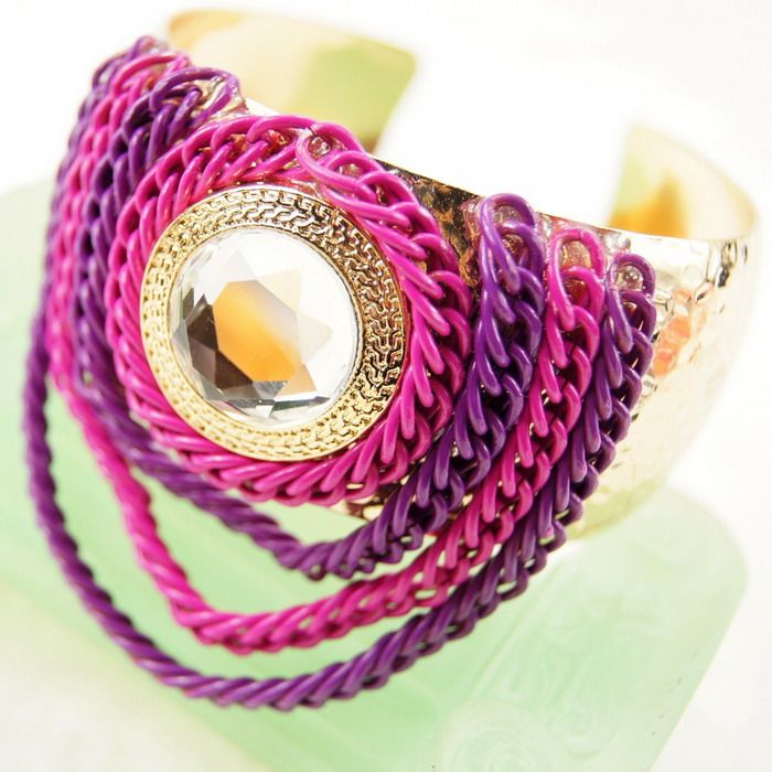 Statement Inlaid Chains Embellished Rhinestone Bracelet