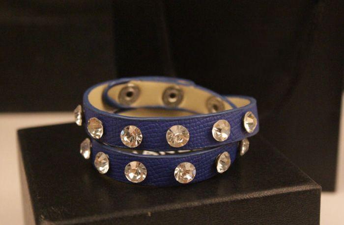 Multilayered Faux Leather Rhinestoned Bracelet