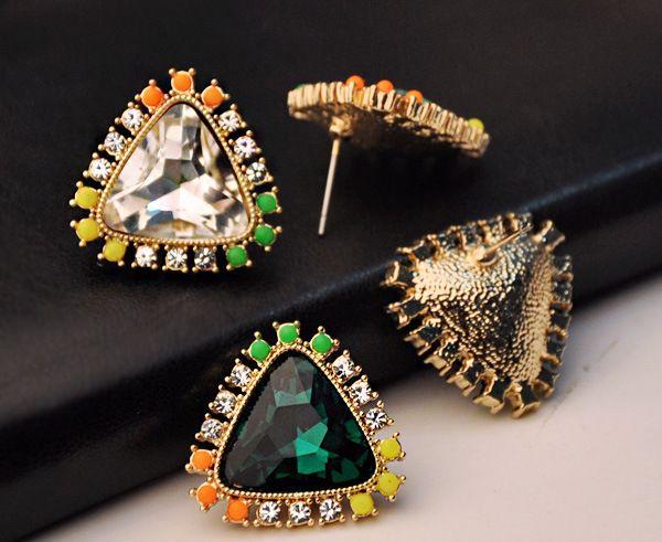 Pair of Triangle Rhinestone Faux Crystal Design Stud Earrings