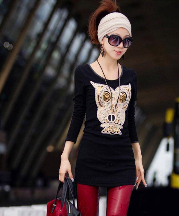 Unique Women's Cartoon Owl T-shirt Casual Long Sleeve