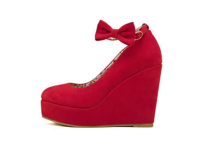 Wedding Bowknot and Buckle Design Women's Wedge Shoes